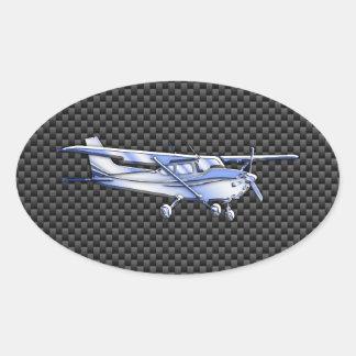 Aircraft Chrome Like Cessna Black Carbon Fiber Oval Sticker