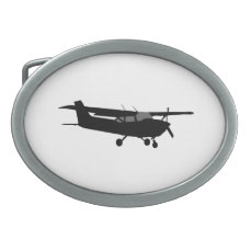Aircraft Classic Cessna Black Silhouette Flying Oval Belt Buckle