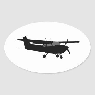 Aircraft Classic Cessna Black Silhouette Flying Oval Sticker