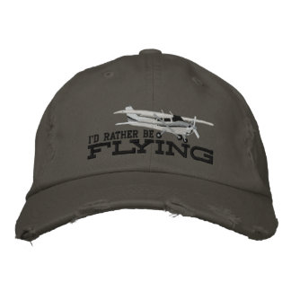 Aircraft Classic Cessna I'd Rather Be Flying Embroidered Hats