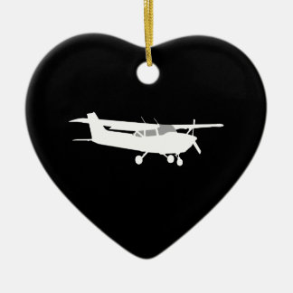 Aircraft Classic Cessna Silhouette Flying on Black Ceramic Ornament