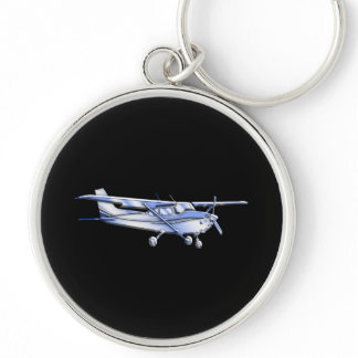 Aircraft Classic Cessna Silhouette Flying on Black Keychain