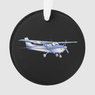 Aircraft Classic Cessna Silhouette Flying on Black Ornament