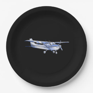 Aircraft Classic Cessna Silhouette Flying on Black Paper Plate