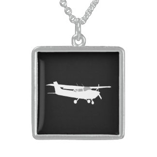 Aircraft Classic Cessna Silhouette Flying on Black Sterling Silver Necklace