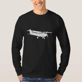 Aircraft Classic Cessna Silhouette Flying on Black Tee Shirt