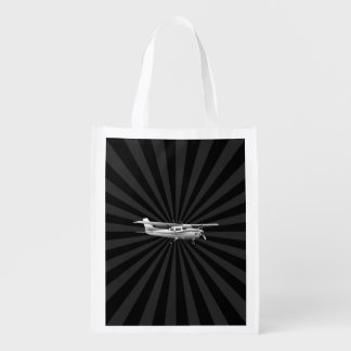 Aircraft Classic Cessna Silhouette Flying Sunburst Grocery Bags
