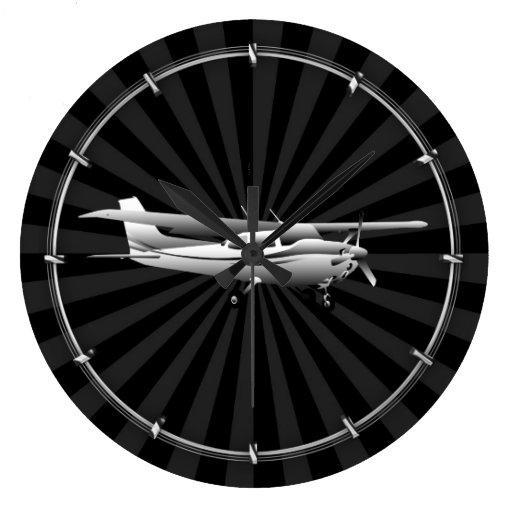 Aircraft Classic Cessna Silhouette Sunburst Large Clock