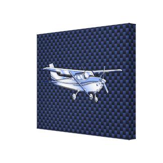 Aircraft Classic Chrome Cessna Blue Carbon Fiber Canvas Print
