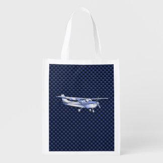 Aircraft Classic Chrome Cessna Flying Carbon Fiber Grocery Bag