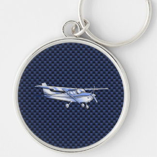 Aircraft Classic Chrome Cessna Flying Carbon Fiber Keychain
