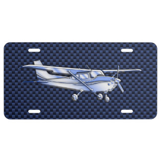 Aircraft Classic Chrome Cessna Flying Carbon Fiber License Plate