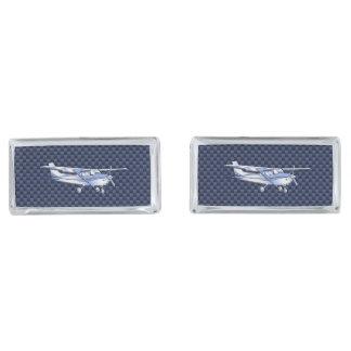 Aircraft Classic Chrome Cessna Flying Carbon Fiber Silver Cufflinks
