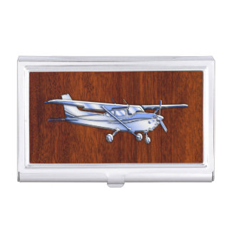 Aircraft Classic Chrome Cessna Flying Mahogany Business Card Case