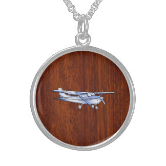 Aircraft Classic Chrome Cessna Flying Mahogany Sterling Silver Necklace