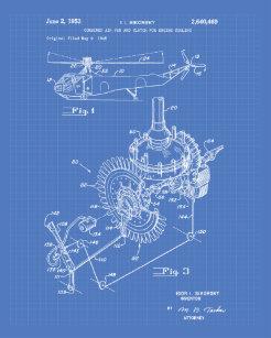 aircraft engine 1953 patent art blueprint poster - Blueprint Aircraft Engines