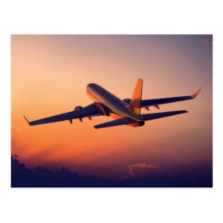 Aircraft Flying into the Sunset Postcard