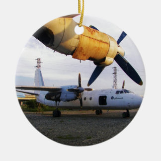 Aircraft graveyard in the east. Double-Sided ceramic round christmas ornament