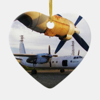 Aircraft graveyard in the east. Double-Sided heart ceramic christmas ornament