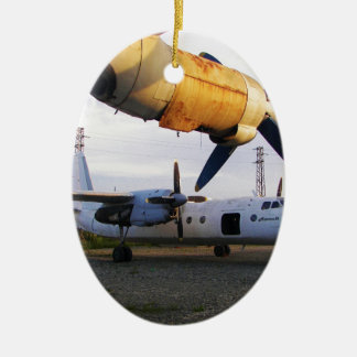 Aircraft graveyard in the east. Double-Sided oval ceramic christmas ornament