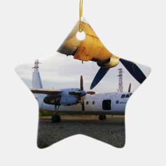 Aircraft graveyard in the east. Double-Sided star ceramic christmas ornament