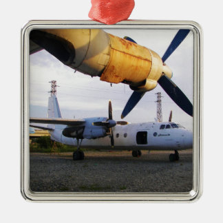 Aircraft graveyard in the east. square metal christmas ornament