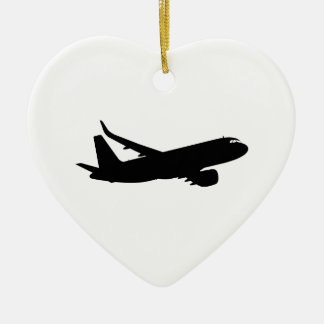 Aircraft Jet Liner Black Silhouette to customize Ceramic Ornament