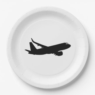 Aircraft Jet Liner Black Silhouette to customize Paper Plate