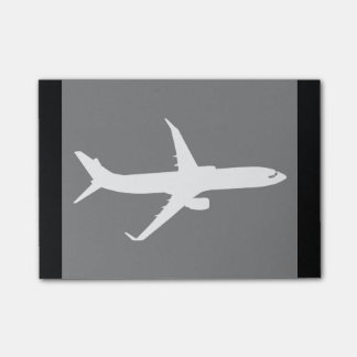 Aircraft Jet Liner Silhouette Flying Black Decor Post-it® Notes