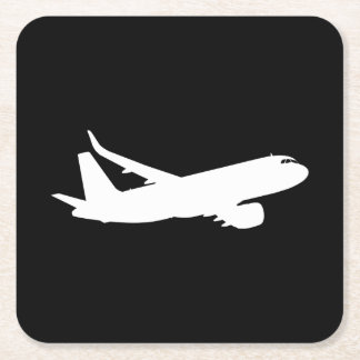 Aircraft Jet Liner Silhouette Flying Black Decor Square Paper Coaster