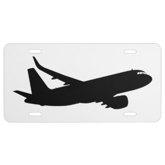 Aircraft Jet Liner Silhouette Flying Decor License Plate