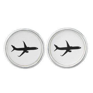 Aircraft Jetliner Black Flight Customize Color Cufflinks