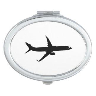 Aircraft Jetliner Black Flight Customize Color Makeup Mirror