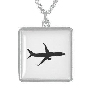 Aircraft Jetliner Shadow Flight Customize Color Square Pendant Necklace