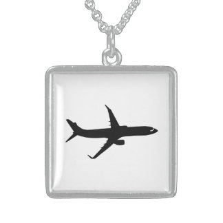 Aircraft Jetliner Shadow Flight Customize Color Sterling Silver Necklace