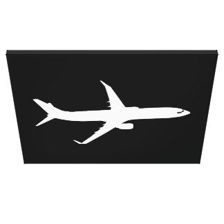 Aircraft JetLiner White Silhouette Flying Canvas Print