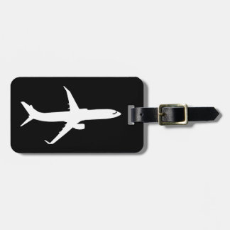 Aircraft JetLiner White Silhouette Flying Luggage Tag