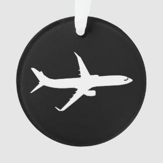 Aircraft JetLiner White Silhouette Flying Ornament