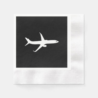Aircraft JetLiner White Silhouette Flying Paper Napkin