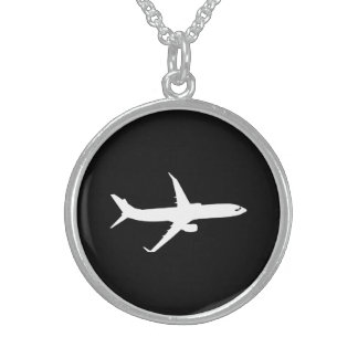 Aircraft JetLiner White Silhouette Flying Sterling Silver Necklace