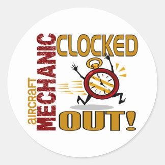 Aircraft Mechanic Clocked Out Round Sticker