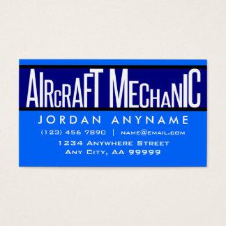 Aircraft Mechanic Funky Text Blue Business Card