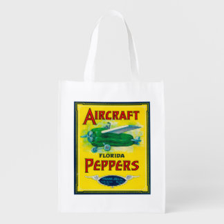 Aircraft Pepper Label Grocery Bags
