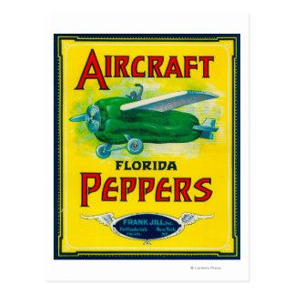 Aircraft Pepper Label Postcards