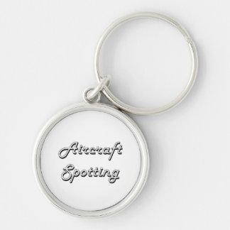 Aircraft Spotting Classic Retro Design Silver-Colored Round Keychain