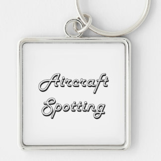 Aircraft Spotting Classic Retro Design Silver-Colored Square Keychain
