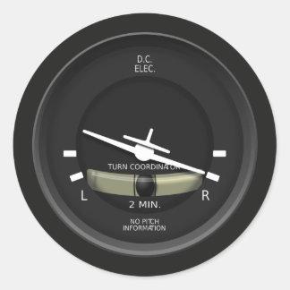 Aircraft Turn Coordinator Instrument Classic Round Sticker