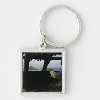 Aircrews approach Farallon Island Silver-Colored Square Keychain