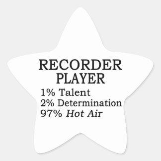 Aire caliente del jugador de registrador pegatina en forma de estrella