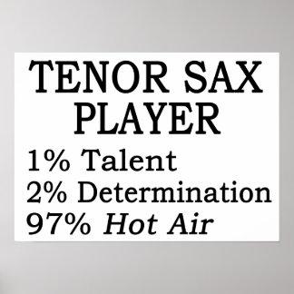Aire caliente del jugador de saxo tenor impresiones